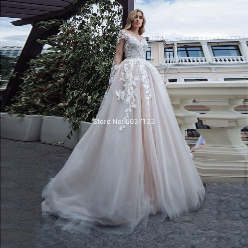 Long Sleeves Wedding Dresses A Line V Neck Bridal Wedding Gown Lace Appliques Floor Length Illusion Vestido De Noiva