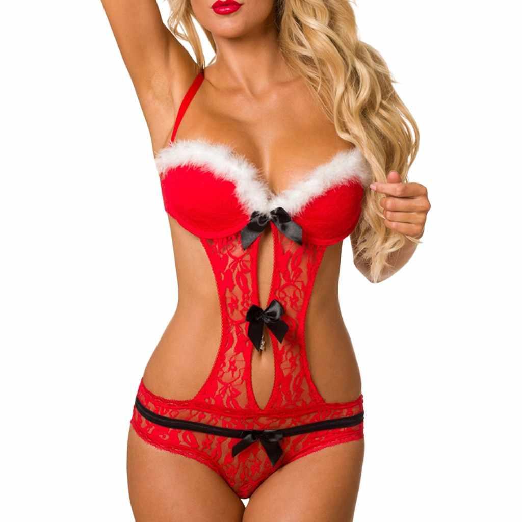 Mujer Sexy Santa Claus Navidad rojo Babydoll Bowknot Backless inalámbrico Bodysuit ropa interior conjuntos de lencería @ B