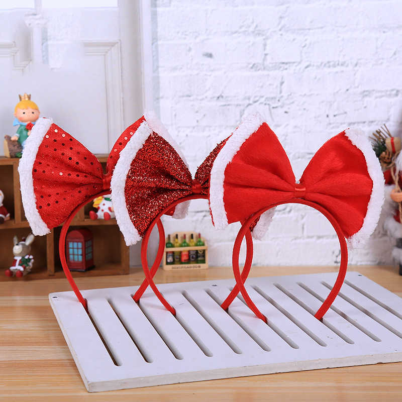 Christmas Headband women girl Santa Xmas Hair Band Clasp Headwear Head Hoop Party Hairband head hoop Bow princess tiara
