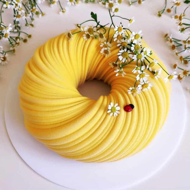 شينهونغ جديد مستدير دوامة قالب الكعكة للخبز مذهلة الحلوى الفن موس سيليكون قالب ثلاثية الأبعاد silikonowle مولي المعجنات عموم