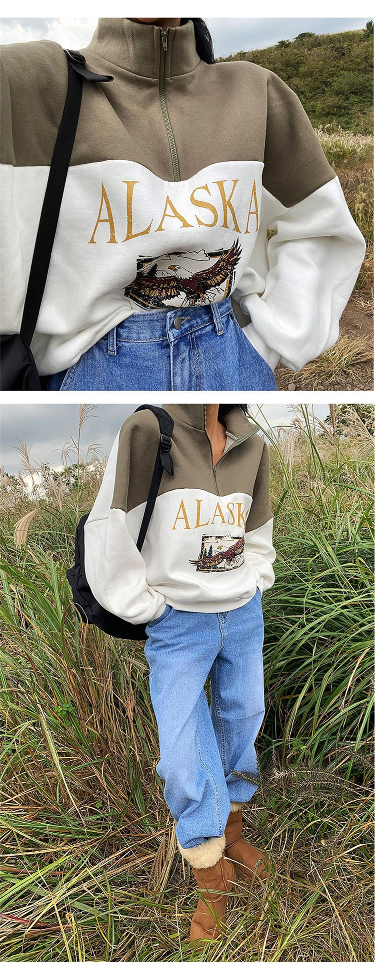 2021 Spring Women Sweatshirts Vintage Streetwear Letter Printed Hoodies Women Back To The Basics Loose Sweatshirt with Fleece