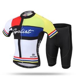 Yfashion Cycling Clothes Short Suit Summer Short Sleeve Set Male Bicycle Set Men's Soccer Jersey Sportswear w Zestawy rowerowe od Sport i rozrywka na