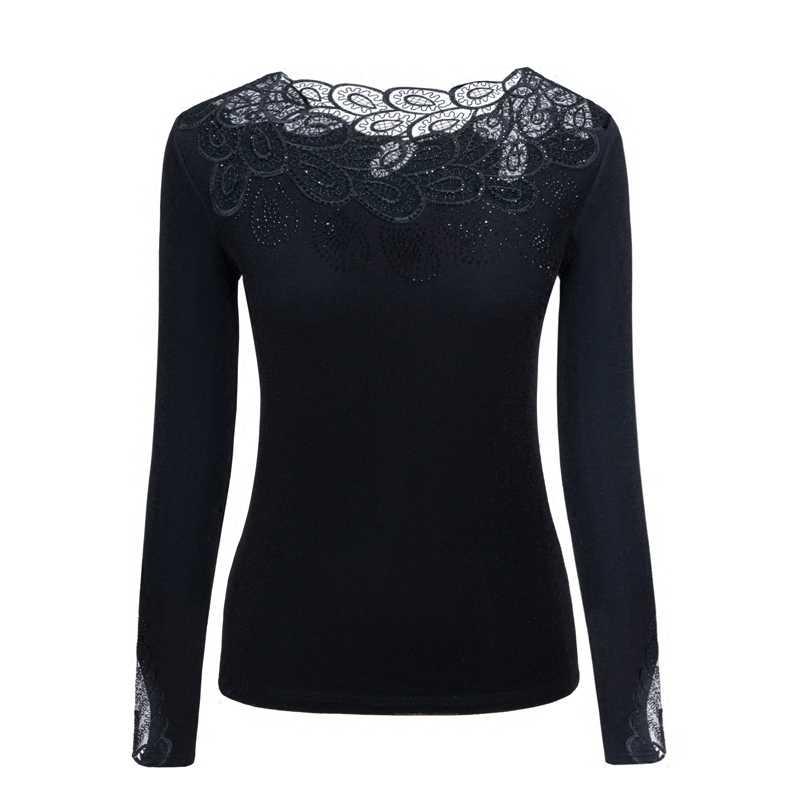 Odzież k-pop bluzka zwężana z koronką 2020 nowa koszulka z długim rękawem Joker topy z siateczki moda Sexy obcisły sweter aksamitna ciepła koszulka OK139