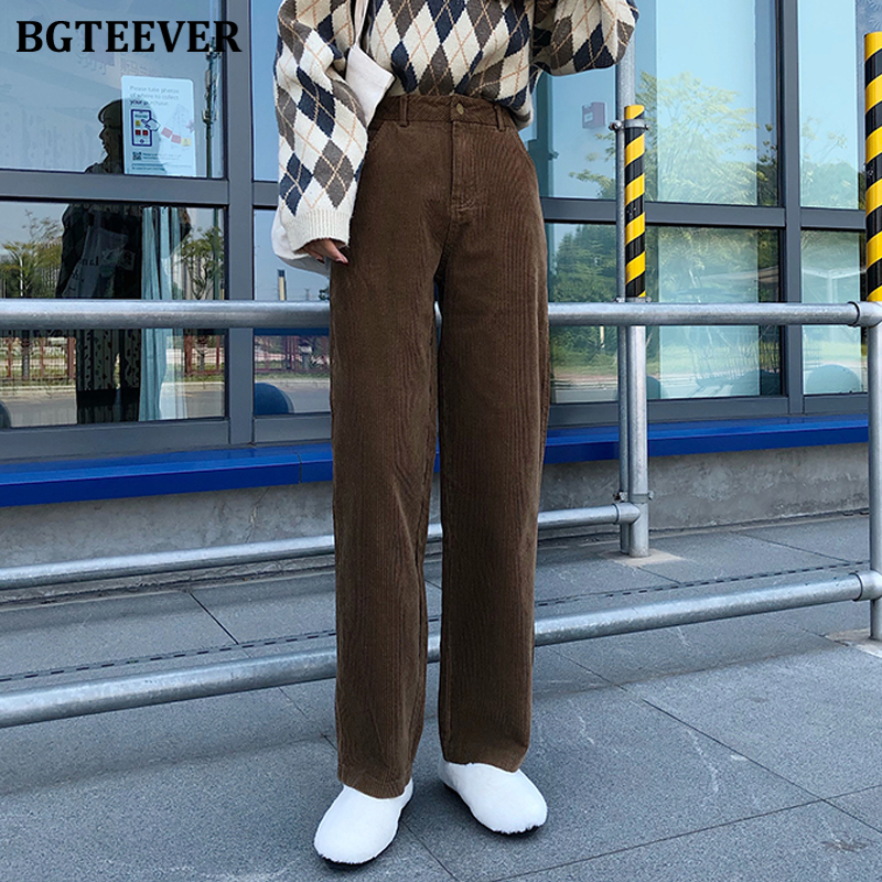 BGTEEVER Vintage High Waist Straight Pants Women 2019 Casual Winter Corduroy Pants Female Wide Leg Trousers Women Pantalon Femme