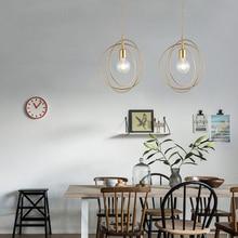 Golden LED Iron Pendant Lights Restaurant Decoration E27 Hanglamp Bedroom Parlor Indoor Lighting Pendant Lamps kitchen fixtures