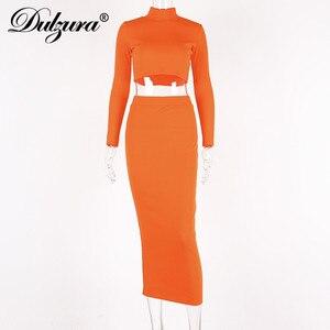 Image 5 - Dulzura 2019 autumn winter women two piece set crop top long skirt matching sets streetwear elegant clothes tracksuit co ord set