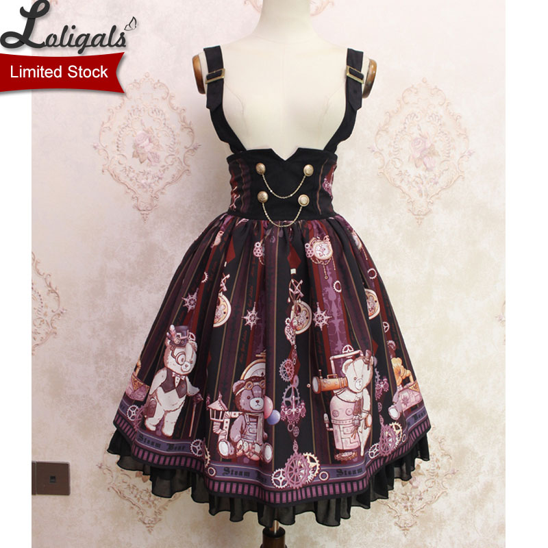 Steampunk Bear Sweet Bear Printed Lolita Casual Suspender High Waist Skirt by Alice Girl Limited Stock
