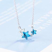 Милое искусственное синее хрустальное ожерелье для женщин женское