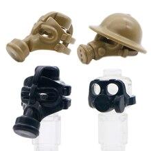 اللبنات العسكرية SWAT فريق الجيش قناع واقي من الغاز سلاح البنادق الشكل مدينة الشرطة خوذة ملحق لعبة الطوب متوافق مع ليغو
