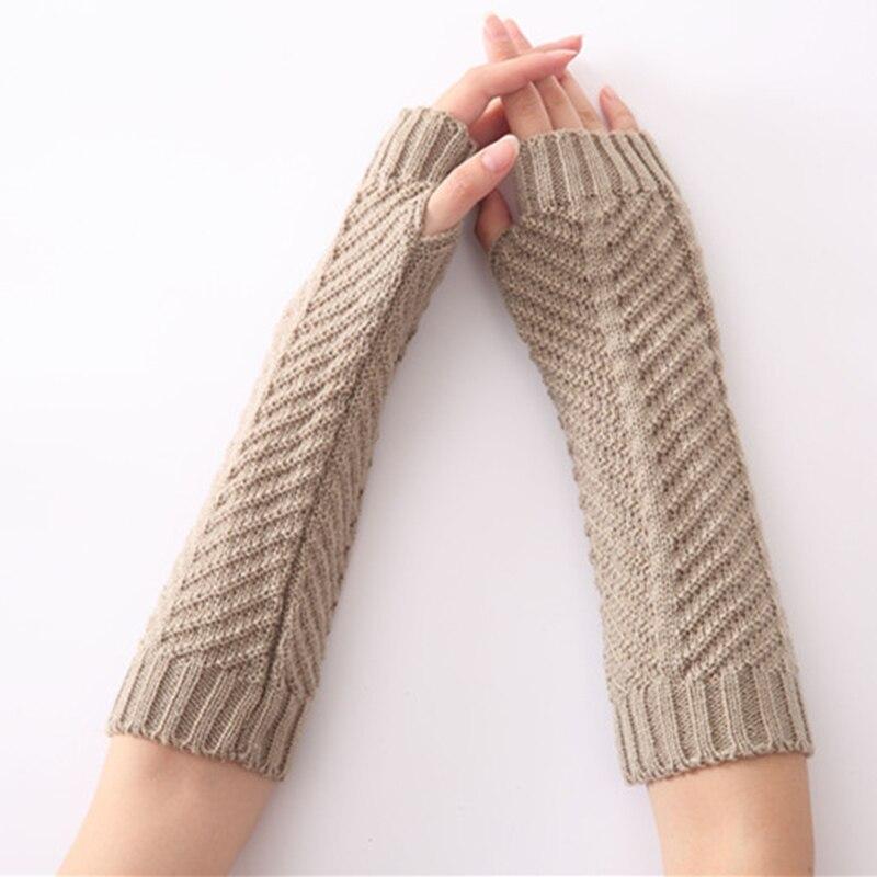 1Pair Autumn Winter Knitted Arm Warmer Gloves Fashion Stripe Arm Wrist Sleeve Mittens Women Men's Fingerless Sleeve Holder Cuffs