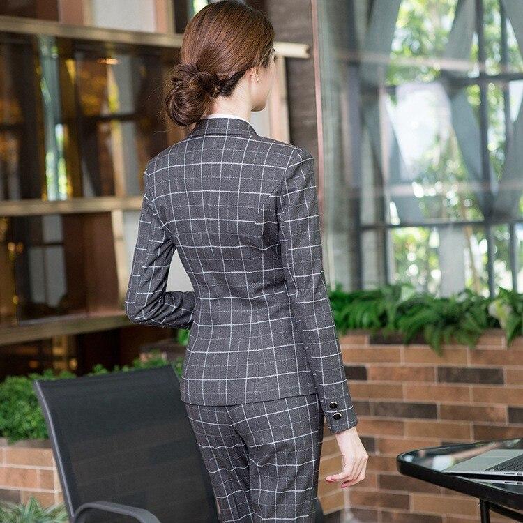 High quality ladies suit set slim trouser suit 2019 new slim plaid blazer Business office uniform Winter women's suit two-piece
