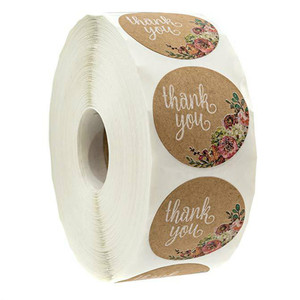500Pcs/Roll Thank You Adhesive Stickers Cute Flower Seal Label Handmade Scrapbooking Envelope Seal Office Stationery Sticker