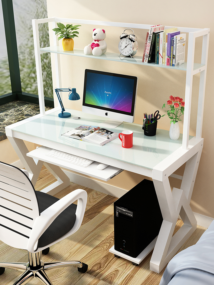 Computer Desktop Desk Simple Table Bookshelf Combination PC Desk Glass Multi-functional Laptop Table Stand