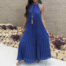 Sexy Off Shoulder Evening Party Dress Women Halter Blue Elegant Dress Summer Loose White Pleated Long Formal Vestidos zogaa vintage striped women long dress ruffles linen blue elegant summer dress 2019 casual dress cotton female beach vestidos