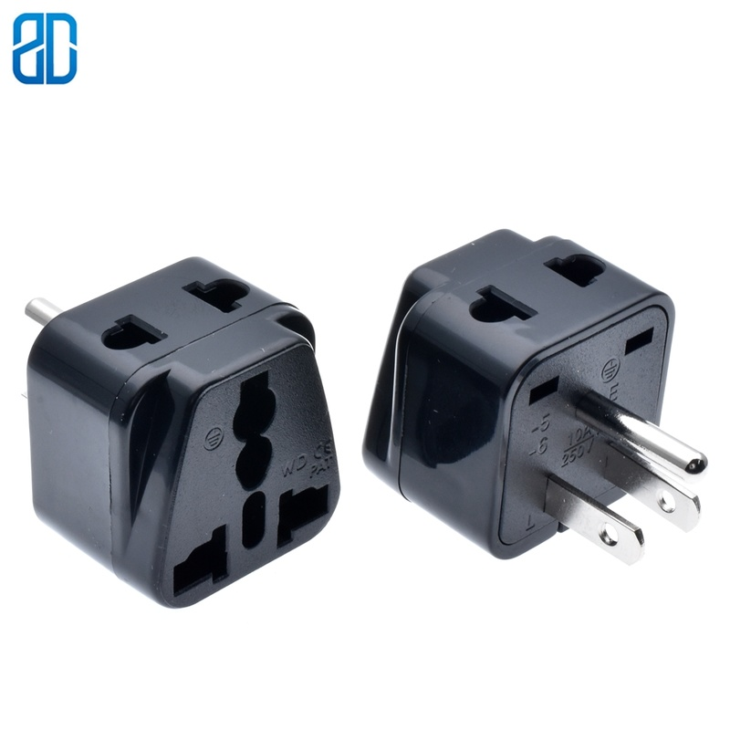 Copper USA <font><b>3pin</b></font> Universal Travel Adaptor <font><b>Plug</b></font> AU/<font><b>UK</b></font>/US/EU To US Power Adaptor <font><b>Plug</b></font> Socket Convertor image