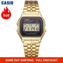Casio часы мужские модные квадратные золотые кварцевые наручные часы со светодиодной подсветкой роскошные водонепроницаемые спортивные циф...