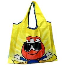 Tote foldable Colors ECO Reusable Polyester Portable Shoulder Handbag Cartoon green Folding pouch shopping bag