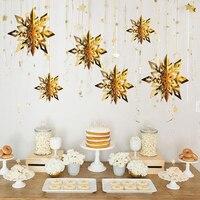 Decoraciones para árboles de Navidad copo de nieve de fiesta 3D copo de nieve hueco guirnaldas de papel ornamento decoraciones de nieve falsa Año Nuevo