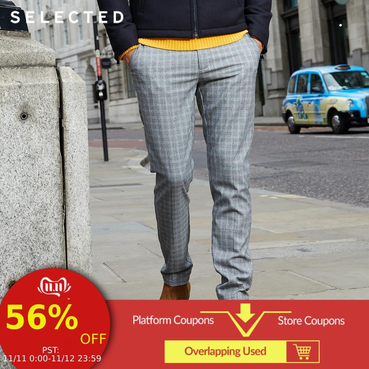 SELECTED Men's Spring Slim Fit Plaid Pants S|418314562
