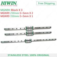 Ücretsiz kargo HIWIN paslanmaz çelik 2 adet MGN9 250mm ray 1 adet MGN9 350mm ray ile 3 adet MGN9H arabaları 3D yazıcı Pro