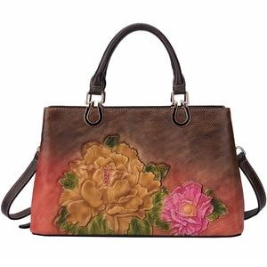 Image 4 - Johnature luksusowe torebki damskie projektant prawdziwej skóry 2020 nowy Handmade tłoczenie Retro torby na ramię i Crossbody