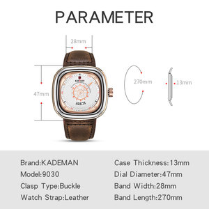 Image 3 - 2020 New Mens Watches KADEMAN Top Brand Leather Waterproof Sport Date Square Quartz Watch For Men Wristwatch Relogio Masculino