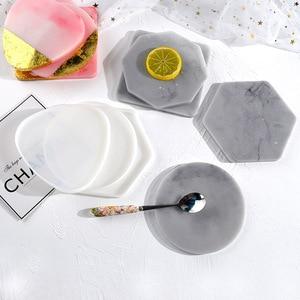 DIY Geometric Coaster Resin Mold Handmade Nordic Style Coaster Crystal Epoxy Mold Tray Tea Set Silicone Mold For Resin