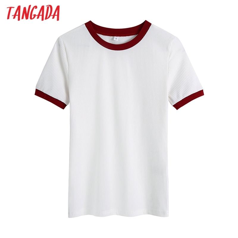 Tangada женские 2021 модный пэчворк белый Strethy Футболка в винтажном стиле с короткими рукавами и круглым вырезом Женский Топ Футболка Mujer BE504