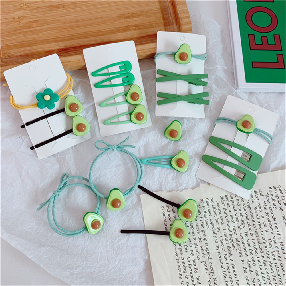 Hot 1 Set High Elasticity Hair Bands Avocado Hair Rope Hair Clip Side Clip Ins Fruit Ponytail For Women Girls Hair Accessories