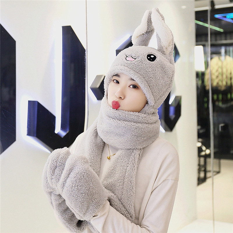 Cute 3 IN 1 Hat Glove Scarf Can Move Airbag Magnet Cap Plush Dance Rabbit Ear Girl's Hat Scarf Set Winter Accessories O18