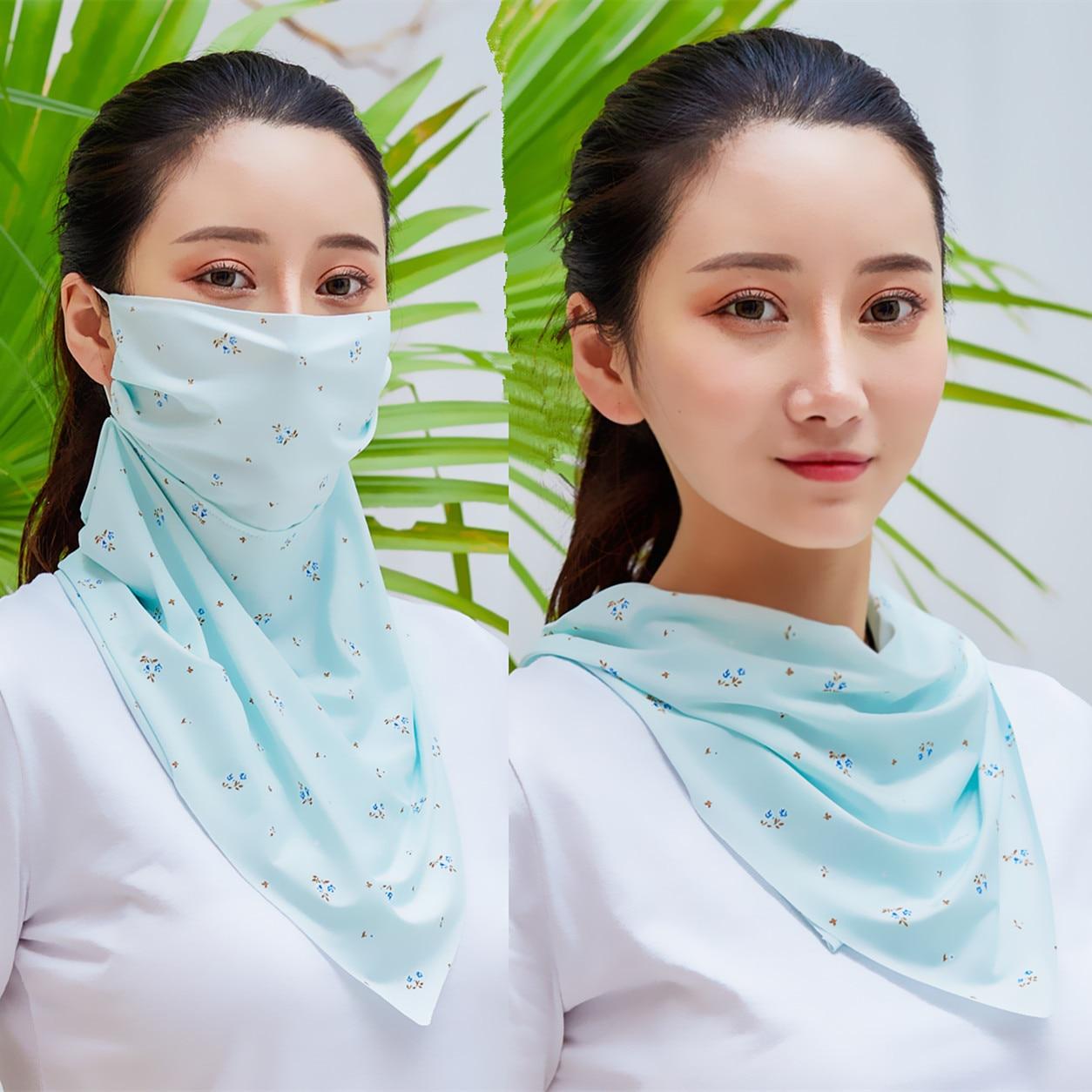 2020 New Silk Scarf Mask Neckerchief Sun Protection Magic Scarves Neck Wraps Shawl Mask Scarf Women