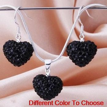 hot best rhinestone multicolor ab clay heart Silver Plated snake chain Crystal crystal set earrings Necklace hfh34