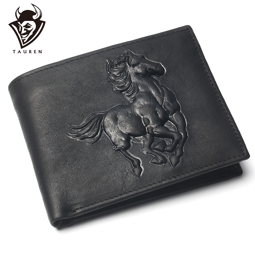 Men Short Wallet Horse Carving Pattern Pure Black Color Cheap 100% Genuine Leather Wallet For Man Coin Purse Card Holder