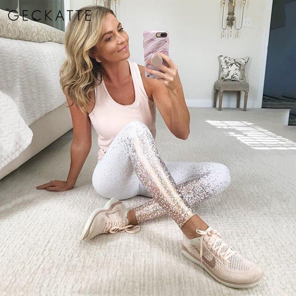GECKATTE Hot Stamping Print Legging High Waist Workout Fitness Leggings Women Spandex Elastic Push Up Plus Size Leggins Mujer