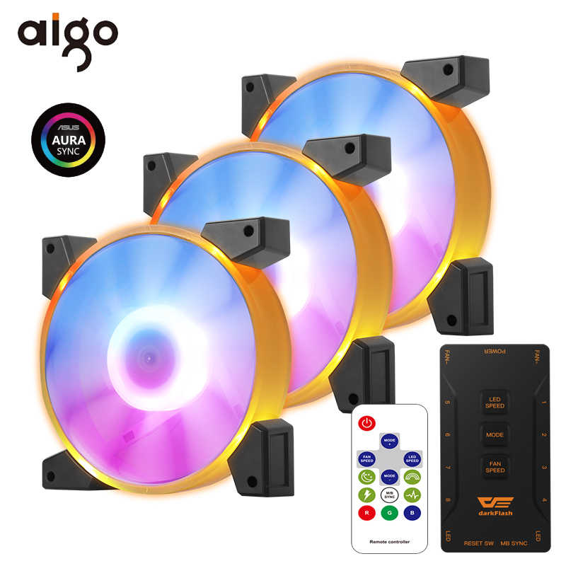Aigo Pc Cooling Fan 120Mm Rgb Computer Pc Case Fans Rustig Afstandsbediening 5V/3pin Aura Sync Cpu cooler Cooling Passen Led Fan Radiatoren