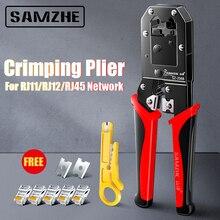 SAMZHE sıkma pense tel Tracker RJ11/12/45 kablo Crimper sıyırma 6P/8P Ethernet ve telefon kablo yapma