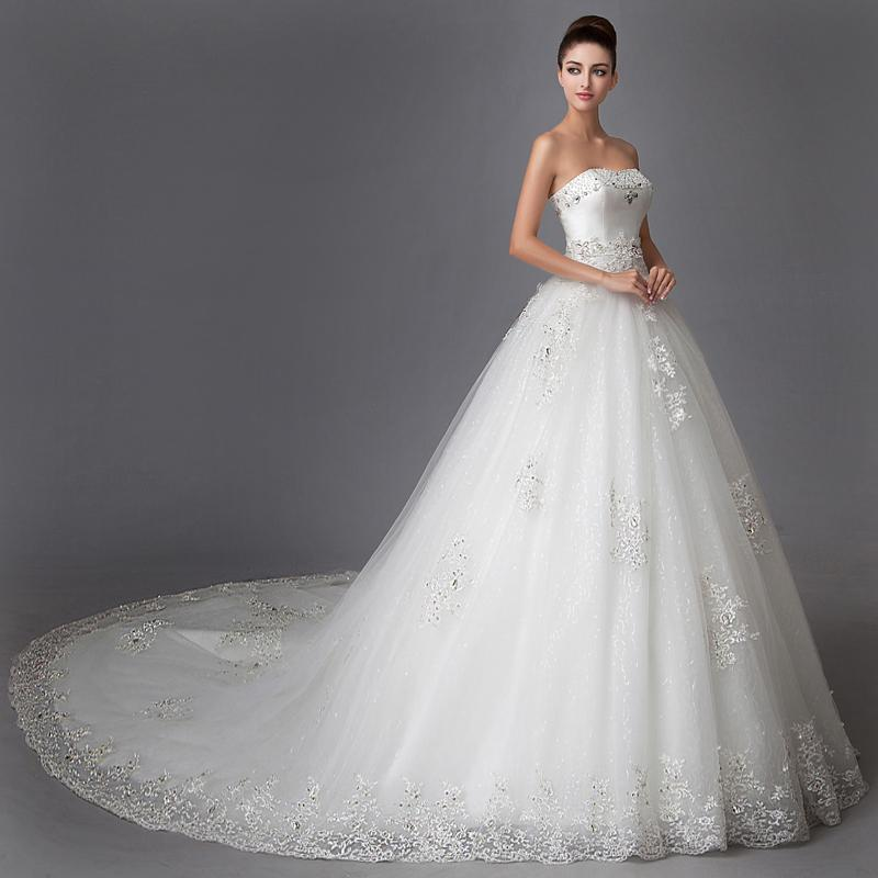 Luxury Crystal Wedding Dresses A-Line Long With Train 2015 Elegant Appliques White Lace Bridal Gowns Strapless Vestido De Noiva