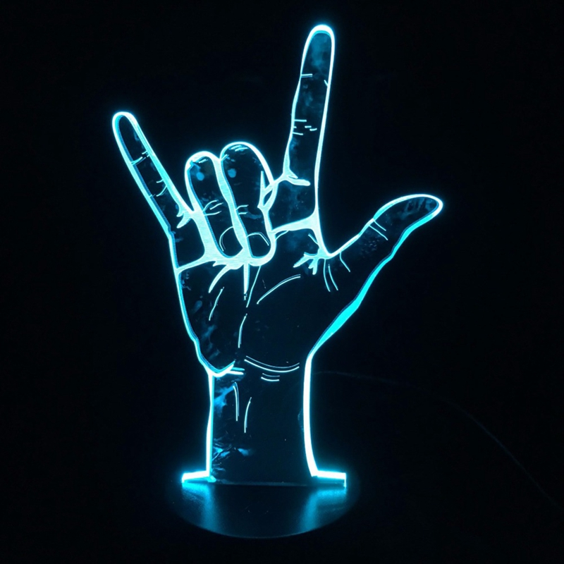 3D LED Lamp Sign Language I Love You Table Night Light USB Operated Romantic Party Holiday Gift
