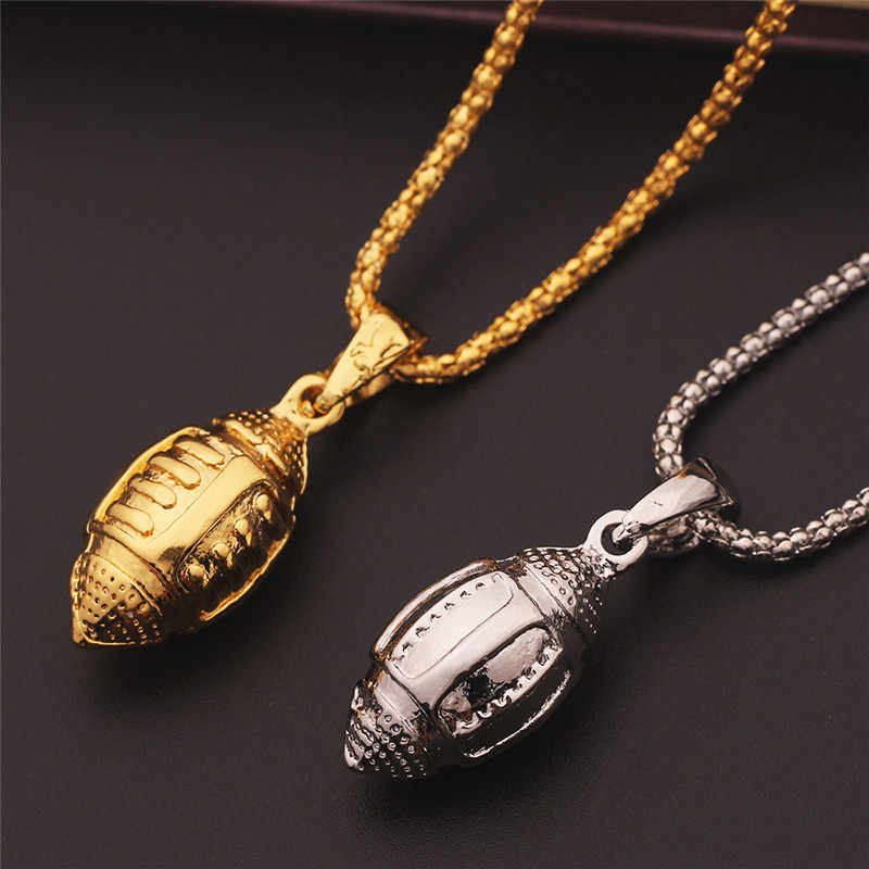 Collar de Rugby hip-hop para hombre, oferta de 2019, cadena de Color dorado, collar de 60 CM de Steampunk, collar de Color dorado