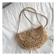 Bolso Mujer Straw Bags for Women Handmade Tassel Beach Bags Raffia Rattan Woven Handbags Vacation Shoulder Crossbody Bags Clutch