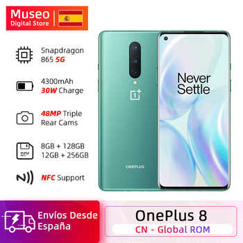 Globale Rom OnePlus 8 5G Smartphone Snapdragon 865 Octa Core 6.55 90Hz AMOLED Bildschirm 48MP Triple Cams 4300mAh Warp Ladung 30T