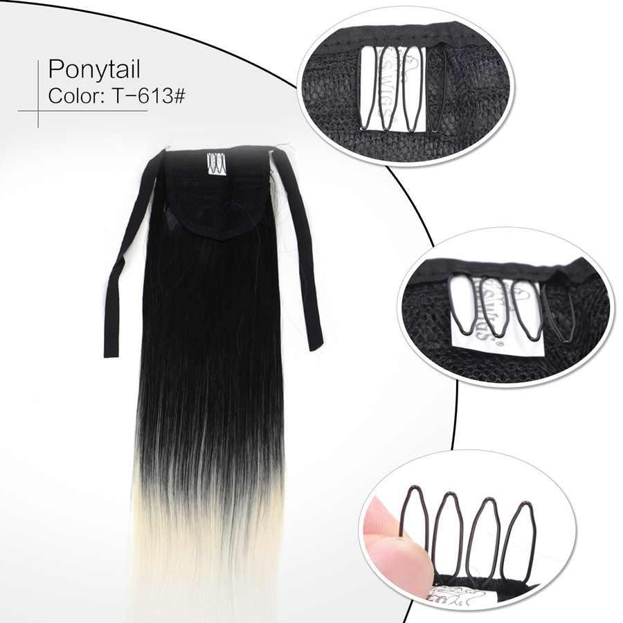 Neitsi 22 ''Paardenstaart lange Rechte Clip In Synthetische Haarstukjes Hoge Temperatuur Fiber Hair Voor Vrouwen 5 Kleur Beschikbare