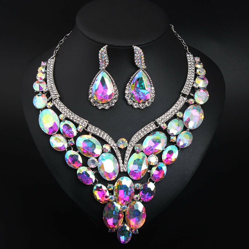 Image 5 - Luxury Crystal Jewelry Set Statement Necklace Earring Bridal Wedding Jewellery Fashion Women Rhinestone Statement Choker IndianJewelry Sets   -