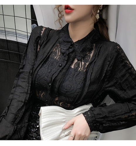Sexy Women Tops Blouse 2021 Autumn Hollow Lace Shirt Cotton Long Sleeve Women Blouse Beading Thin Office Lady Clothing 10457 8