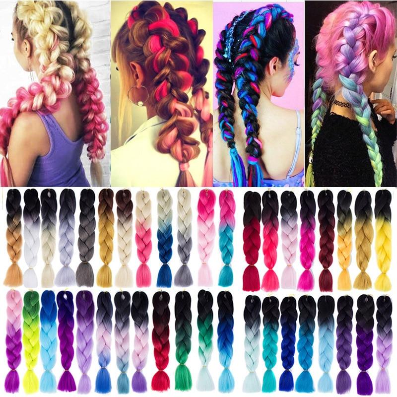 24 Inch Crochet Braiding Hair Extension Ombre Purple Pink Green Blonde Kanekalon Jumbo Braids Long Synthetic Hair LUPU