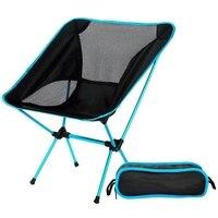 Ultraleve cadeira dobrável com saco de transporte portátil praia sunbath piquenique churrasco cadeiras acampamento céu azul|Ferram. atividade ar livre|Esporte e Lazer -