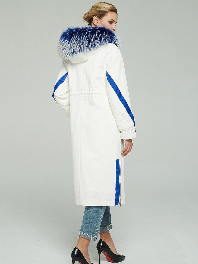 Parka Real Fur Coat Female Natural Rabbit Fur Liner Long Coat 2020 Winter Jacket Women Raccoon Fur Collar Warm Parka 1907