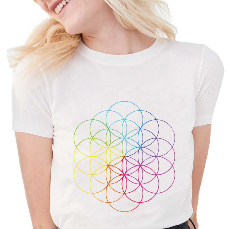 New Harajuku T-shirt Women ColdPlay Full Of Dreams Line Art Series T Shirts Geometric Print Tops Slim White T Shirts  S679