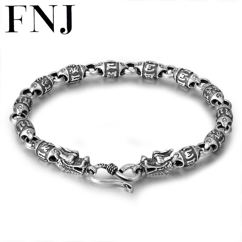 FNJ 925 Silver Bracelet 18.5cm Link Chain Dragon Head Width 6mm Original Pure S925 Silver Bracelets for Women Men Jewelry Fine