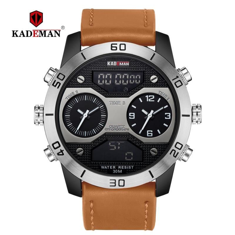 Grote Wijzerplaat mannen Horloges Top Luxe Merk KADEMAN Analoge Digitale Dual Time Display Waterdichte Horloges Relogio Masculino 158-in Digitale Klokken van Horloges op  Groep 1